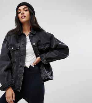 ASOS Tall Черная выбеленная джинсовая куртка. Цвет: черный