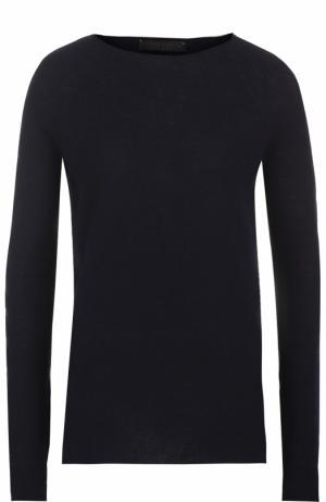 Кашемировый пуловер с декорированными рукавами The Row. Цвет: темно-синий