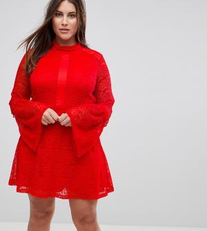 Rage Plus Кружевное короткое приталенное платье с длинными рукавами. Цвет: красный