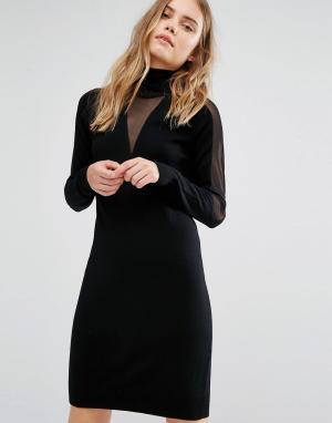 Gestuz Трикотажное платье с прозрачными вставками. Цвет: черный