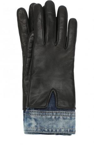 Кожаные перчатки с джинсовой вставкой Dsquared2. Цвет: черный