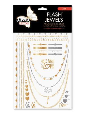Премиальные золотые и серебряные временные Дизао тату Flash Jewels Восток. Dizao. Цвет: черный