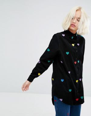 Lazy Oaf Удлиненная рубашка с разноцветными сердцами - Черный 6035652
