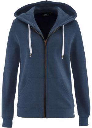 Трикотажная куртка (темно-синий меланж) bonprix. Цвет: темно-синий меланж