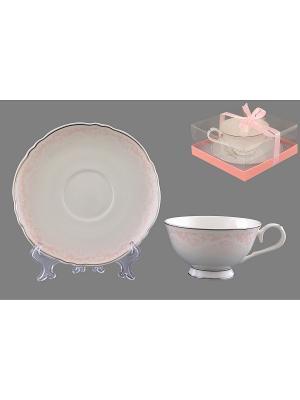 Чайная пара Розовый шик Elan Gallery. Цвет: белый, розовый