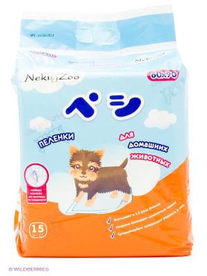 Maneki NekiZoo Пеленки гигиенические для домашних животных, размер L, 60х90 см, 15 шт., PP1323. Цвет: белый