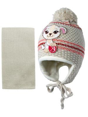 Шапка и шарф Kolad. Цвет: бежевый