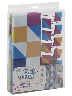 Штора для ванной WHITE FOX. Цвет: синий, белый, бордовый, оранжевый