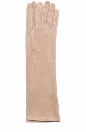 Удлиненные замшевые перчатки Sermoneta Gloves. Цвет: бежевый