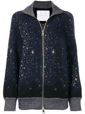Кардиган на молнии со звездной отделкой Giada Benincasa. Цвет: синий