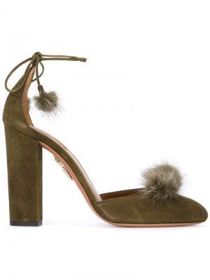 Туфли с помпонами Aquazzura. Цвет: зелёный
