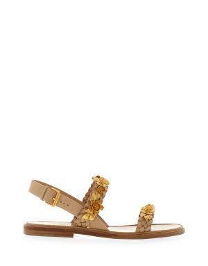 Кожаные сандалии Valentino. Цвет: золотой