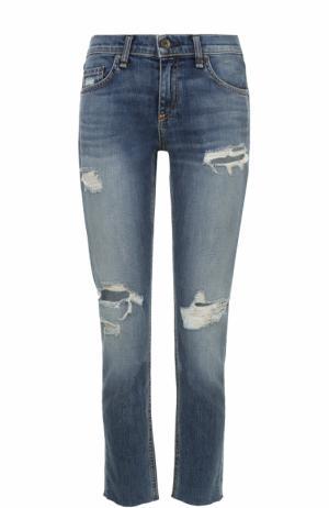 Укороченные джинсы с потертостями Rag&Bone. Цвет: синий
