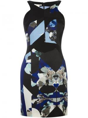 Приталенное платье с абстрактным принтом Antonio Berardi. Цвет: чёрный