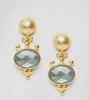 Ottoman Hands Серьги-подвески с камнем. Цвет: золотой