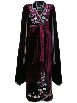 Бархатное платье с вышивкой Paradise Apples Yuliya Magdych. Цвет: розовый и фиолетовый