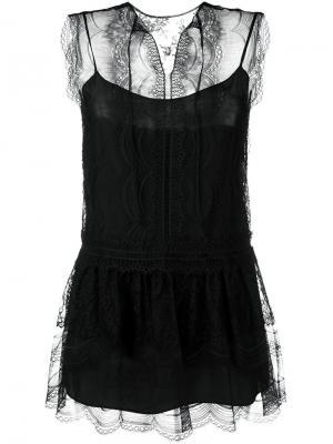 Прозрачная блузка Alberta Ferretti. Цвет: чёрный