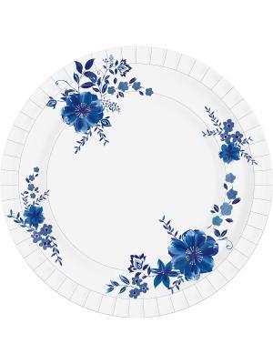 Тарелка бумажная DUNICEL LAURA диаметр 22 см, 10 шт. DUNI. Цвет: белый, голубой