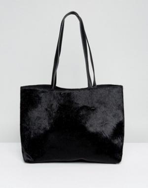 Skinnydip Черная сумка-тоут из искусственной кожи пони. Цвет: черный