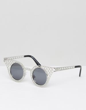 7X Круглые солнцезащитные очки. Цвет: серебряный