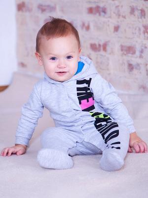 Комбинезон Lucky Child. Цвет: серый, голубой
