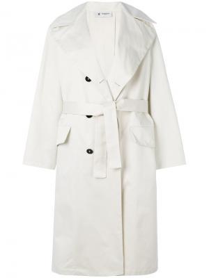 Двубортное пальто-тренч Barena. Цвет: белый