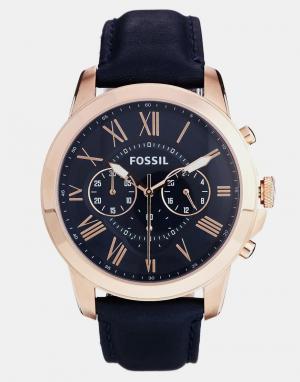 Fossil Часы на синем кожаном ремешке с хронографом Grant FS4835. Цвет: синий
