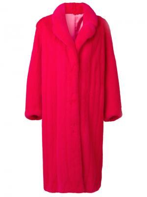 Шуба свободного кроя Liska. Цвет: розовый и фиолетовый