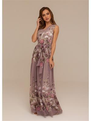 Платье в пол с поясом из шифона DEMURYA