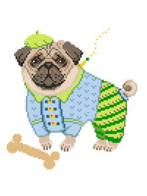 Набор для вышивания с нитками Мопс Матренин Посад. Цвет: синий, зеленый