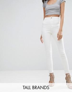 Missguided Tall Укороченные эластичные джинсы скинни с завышенной талией Ta. Цвет: белый