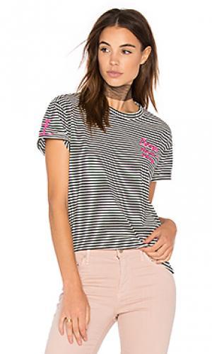 Полосатая футболка с вышивкой Sandrine Rose. Цвет: black & white