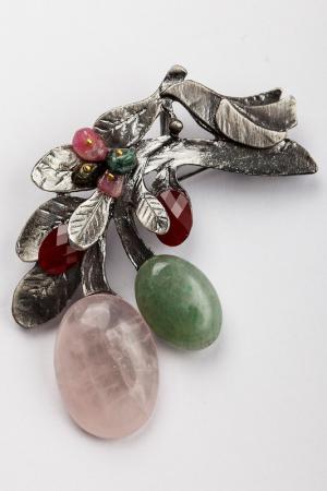Брошь-кулон FRANSUA ARDY. Цвет: розовый, зеленый