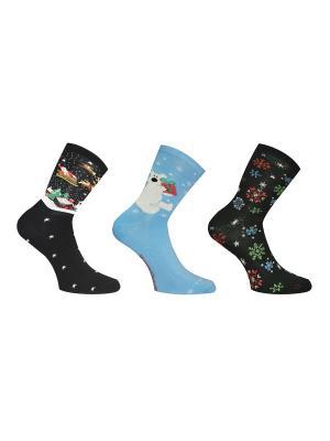 Носки 3 пары Master Socks. Цвет: черный, голубой