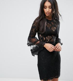 Lioness Кружевное платье с рукавами клеш. Цвет: черный