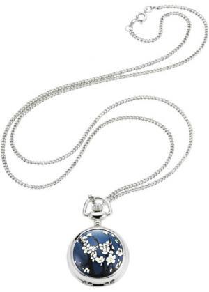 Часы на цепочке Цветочек (серебристый/синий) bonprix. Цвет: серебристый/синий