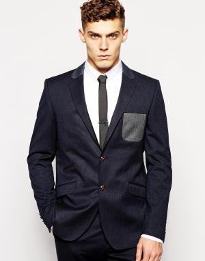 Guide London Узкий пиджак с контрастным карманом. Цвет: темный насыщенный си