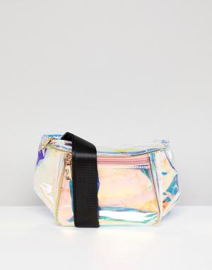 Yoki Fashion Переливающаяся сумка-кошелек на пояс. Цвет: серебряный