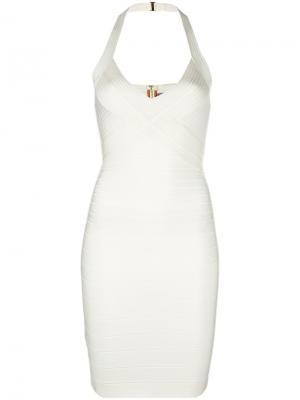 Облегающее платье Hervé Léger. Цвет: белый