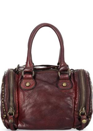 Маленькая кожаная сумка с одним отделом Campomaggi. Цвет: коричневый