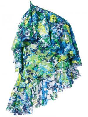 Кружевной топ на одно плечо с цветочным рисунком Marquesalmeida Marques'almeida. Цвет: зелёный