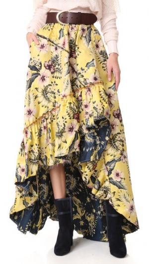 Асимметричная юбка Philosophy di Lorenzo Serafini. Цвет: желтый с принтом fantasy