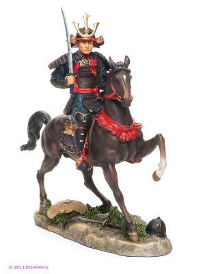 Статуэтка Самурай на коне Veronese. Цвет: коричневый, красный, синий