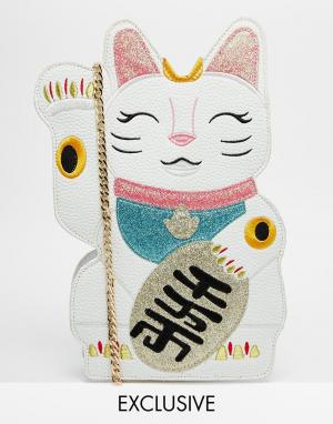 Skinnydip Сумка в виде кошки эксклюзивно для ASOS. Цвет: белый с розовым