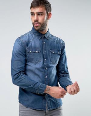 Dead Vintage Джинсовая рубашка в стиле вестерн. Цвет: синий