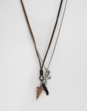 Icon Brand Набор ожерелий. Цвет: коричневый