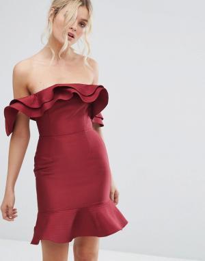 C/meo Collective Платье с оборкой Extant. Цвет: красный