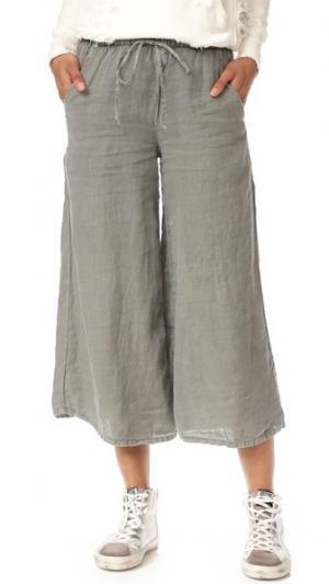 Льняные брюки Zibu NSF. Цвет: карго с пигментацией