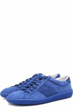 Кожаные кеды на подошве с декором O.X.S.. Цвет: синий