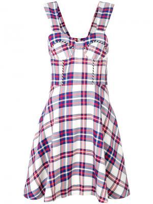 Расклешенное платье в клетку House Of Holland. Цвет: синий